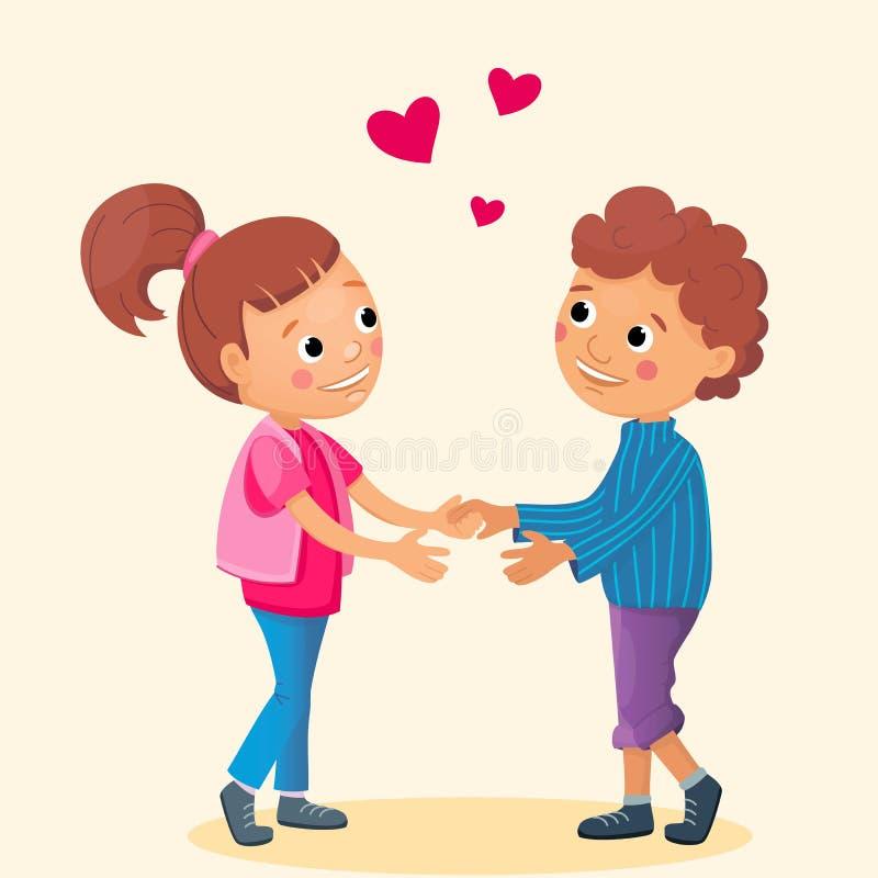 Het mooie meisje en de krullende jongensgreep overhandigen elkaar Beeldverhaalillustratie voor valentijnskaartdag Het vallen in l royalty-vrije illustratie
