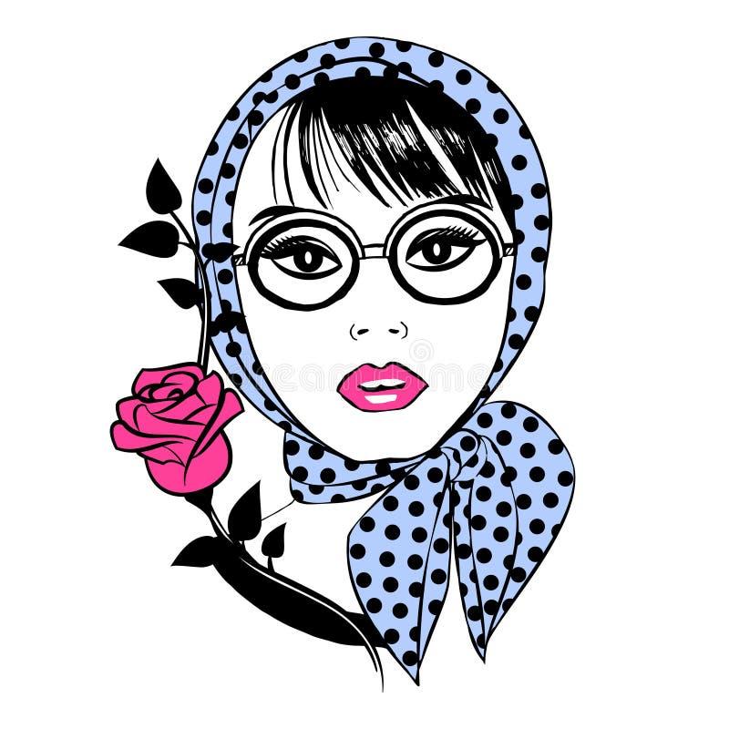 Het mooie meisje in glazen en een sjaal met rood namen toe stock illustratie