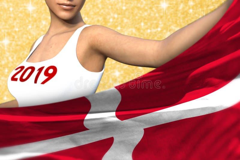 Het mooie meisje houdt de vlag van Denemarken vooraan op de oranje glanzende vonkenachtergrond - Kerstmis en 3d het concept van d vector illustratie