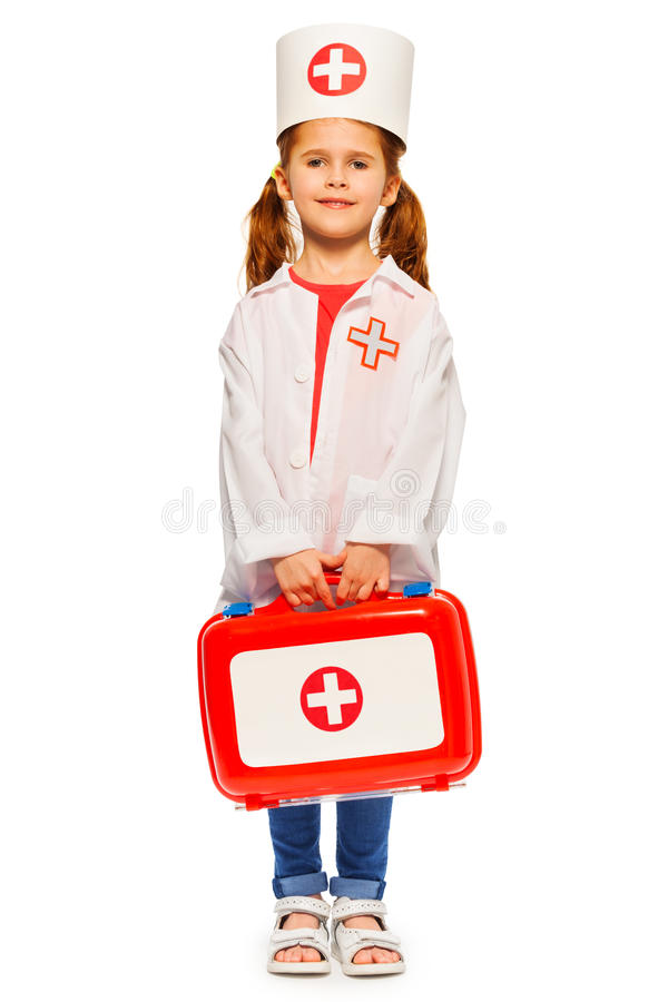 Het mooie meisje kleedde zich als een arts stock afbeeldingen