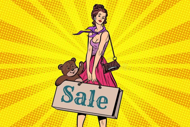 Het mooie meisje met zacht stuk speelgoed draagt, kortingen en verkoop stock illustratie