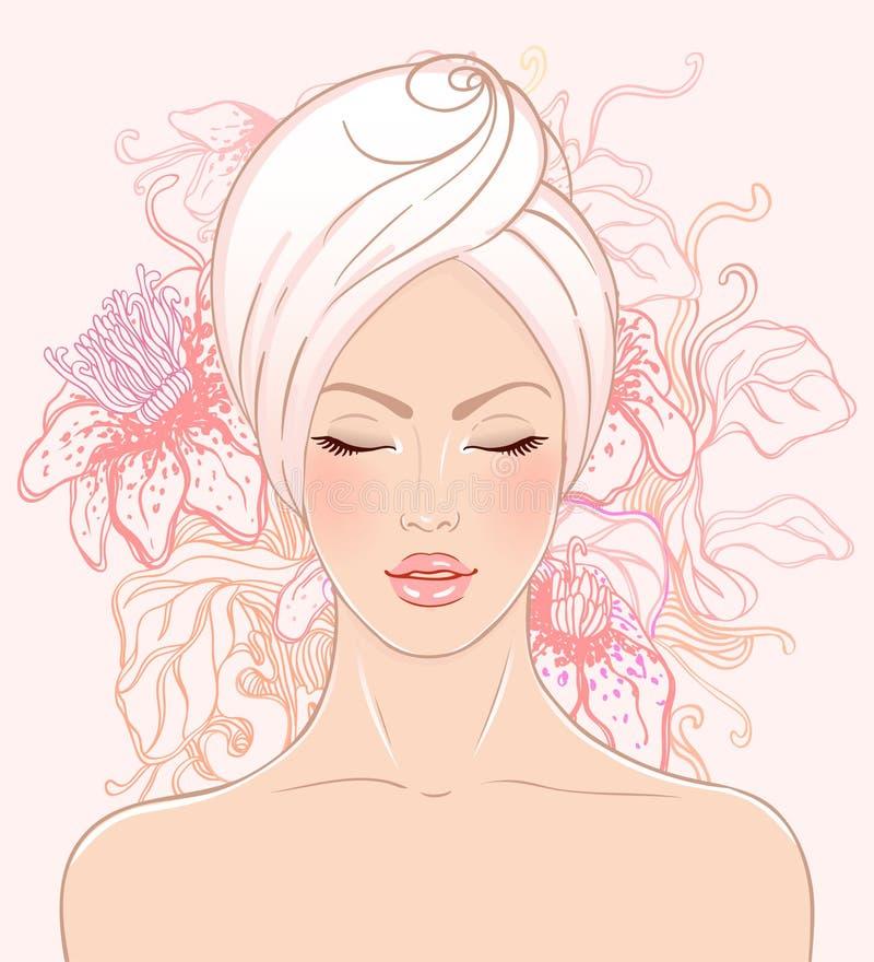 Het mooie meisje ontspannen in kuuroordsalon vector illustratie