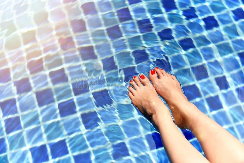 Het mooie meisje ontspannen in zwembad, Benen van vrouw in water royalty-vrije stock afbeelding