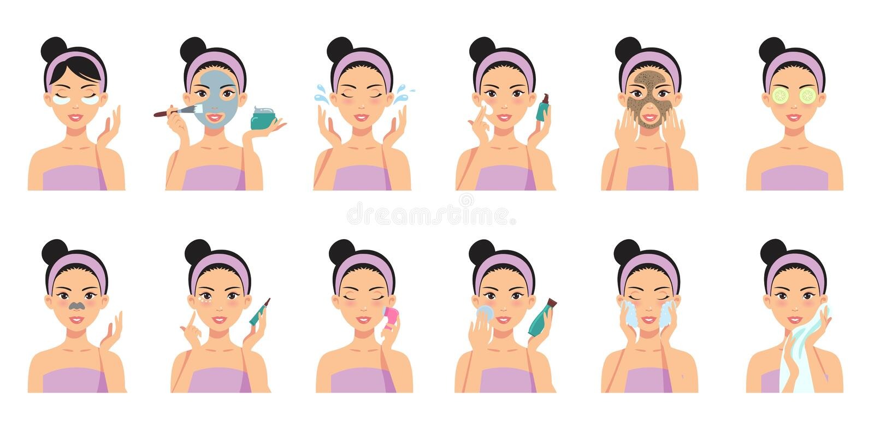 Het mooie meisje schoonmaken en geeft haar gezicht met diverse acties stock illustratie