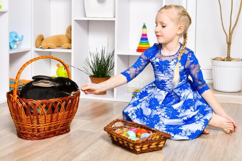Het mooie meisje speelt met een konijn royalty-vrije stock fotografie