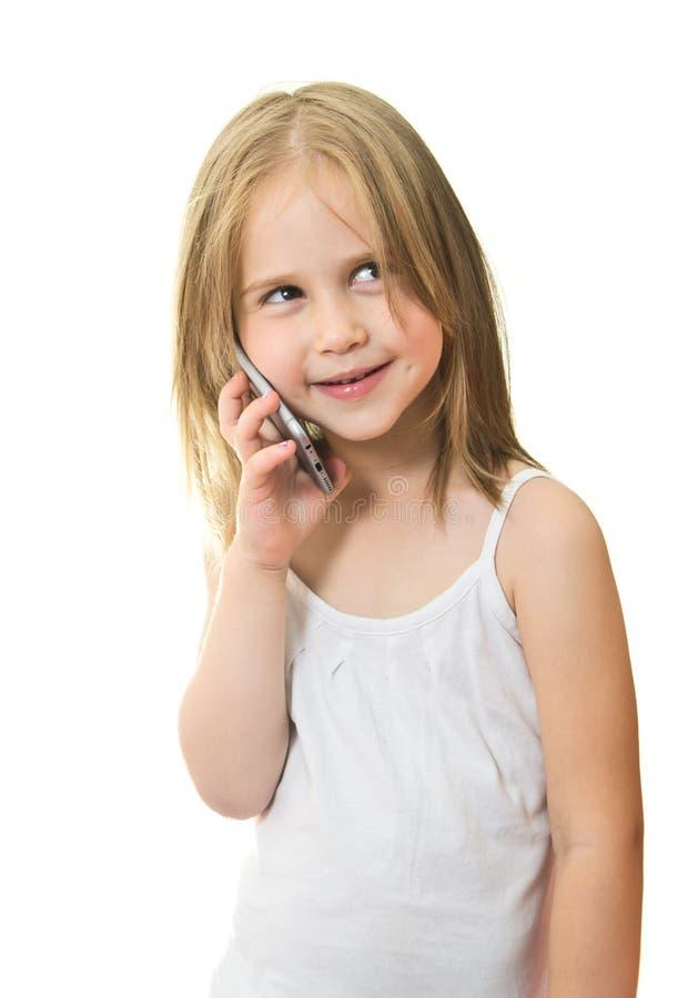 Het mooie Meisje spreekt op de Mobiele Telefoon royalty-vrije stock fotografie