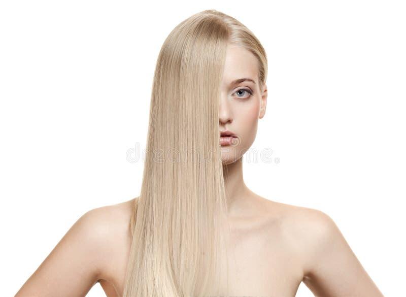 Het mooie Meisje van de Blonde. Gezond Lang Haar royalty-vrije stock afbeelding