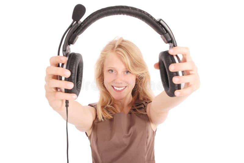 Het mooie meisje van de de exploitantstudent van de klantendienst met hoofdtelefoon stock afbeeldingen