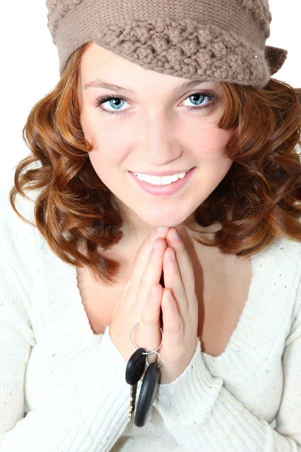 Het mooie Meisje van de Tiener met de Sleutels van de Auto royalty-vrije stock fotografie