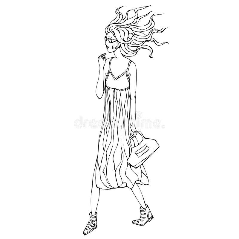 Het mooie Meisje van Manierhipster in Zonnebril Jonge Vrouwen in Lange Toevallige Kleding met Zak stock illustratie