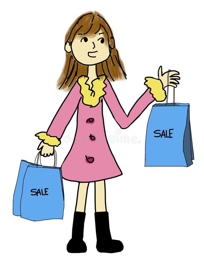 Download Het mooie meisje winkelen stock illustratie. Illustratie bestaande uit dame - 29501993