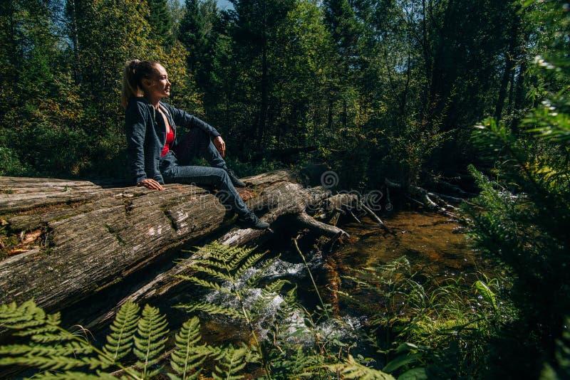 Het mooie meisje zit op logboek en het koelen na reis Vrouwenreiziger in de zomerpassen op houten brug op achtergrond van stock afbeelding