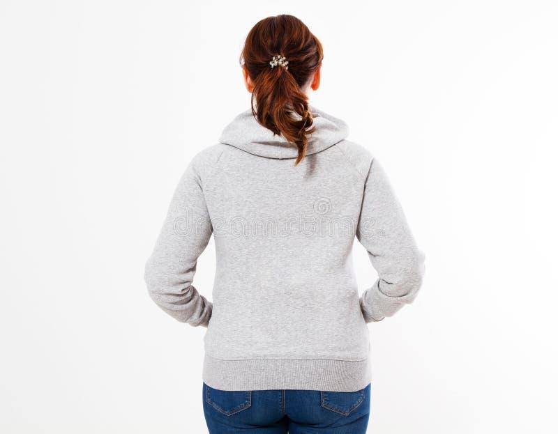 Het mooie model van de vrouwen Grijze trui hoodie, Vrouw in grijze hoodie, malplaatje die voor uw eigen ontwerp, meisje lege grij stock afbeeldingen