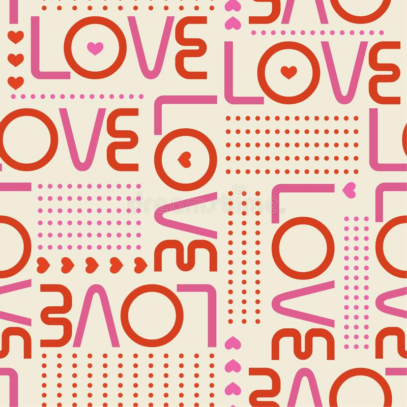Het mooie Naadloze patroon met liefdewoorden, en de miniharten met lijn van cirkelstippen modren binnen stijlontwerp voor manier, royalty-vrije illustratie