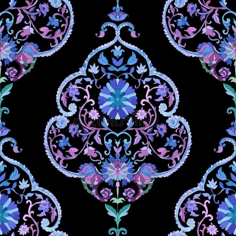 Het mooie naadloze patroon van Waterverfpaisley vector illustratie