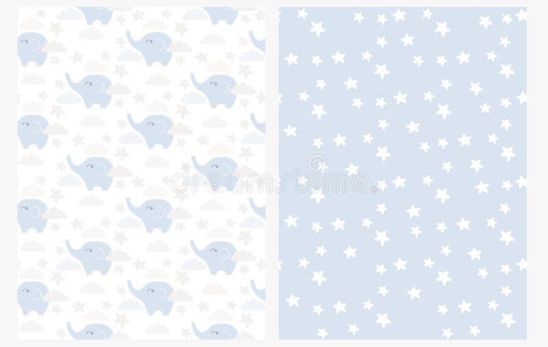 Het mooie Naadloze Vectorpatroon van de Babyolifant Leuke Kleine Blauwe Olifanten onder Wolken op een Witte Achtergrond stock illustratie
