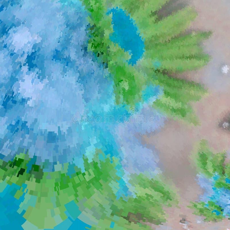 Het mooie ontwerp van de waterverfdekking met kleurrijke achtergrond in neonblauw, turquase en groen vector illustratie