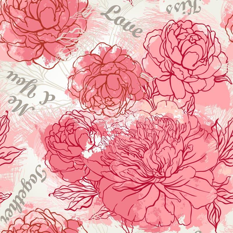 Het mooie ontwerp van het pioen naadloze patroon royalty-vrije illustratie