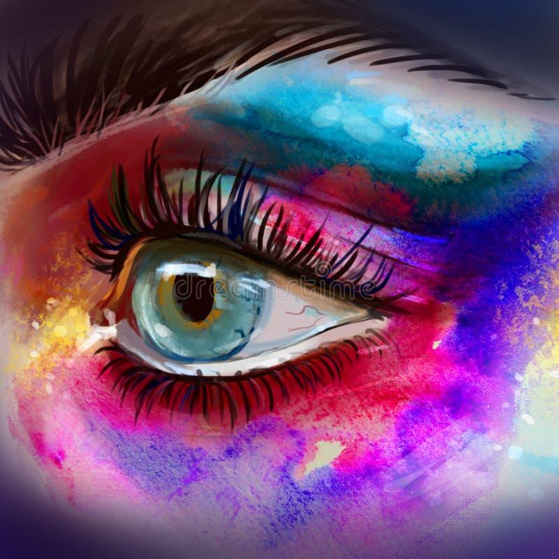 Het mooie oog maakt omhoog schets Mooi oog met grote zwepen waterverfhand getrokken illustratie van kleurrijk vrouwenoog royalty-vrije illustratie