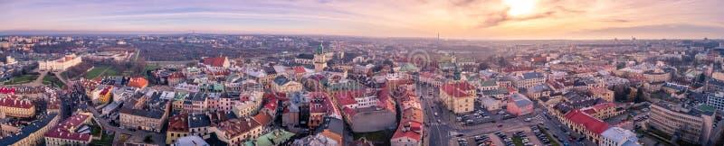 Het mooie panorama van Lublin stock fotografie