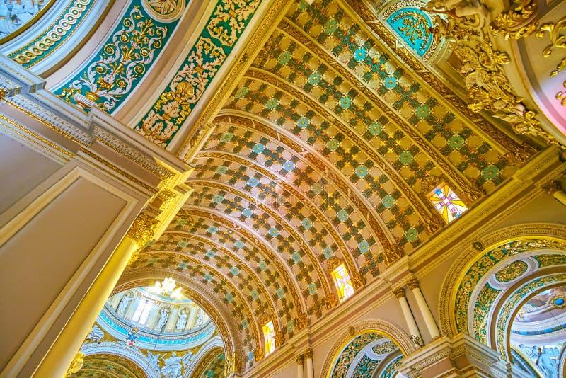 Het mooie plafond van Parochiekerk in NAxxar, Malta stock afbeeldingen