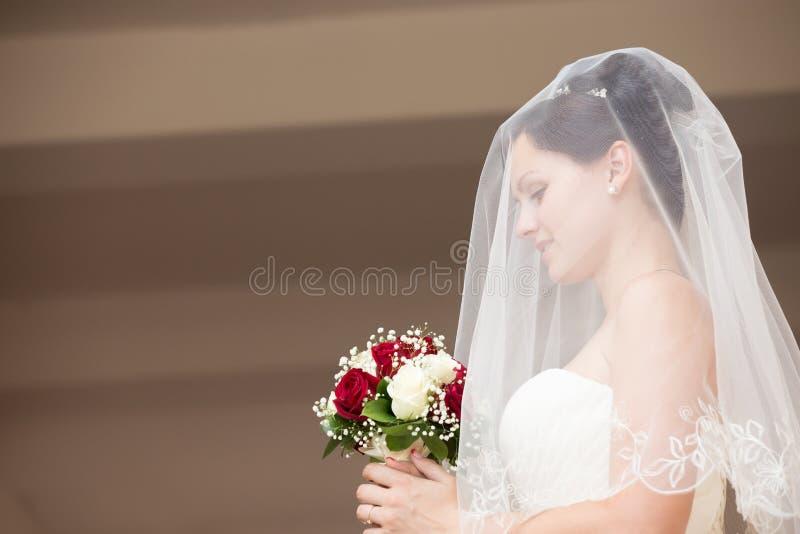 Het mooie portret van het bruidprofiel stock foto