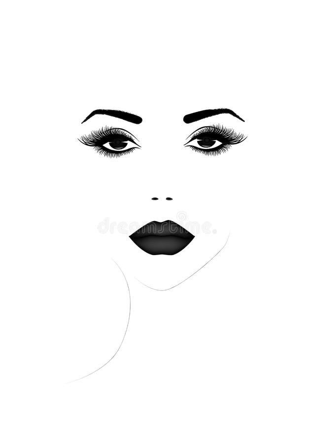 Het mooie portret van het vrouwengezicht, zwart-witte vectorillustratie stock illustratie