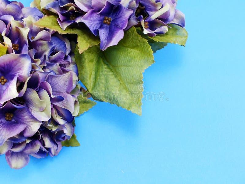 Het mooie purpere boeket van de hydrangea hortensia kunstbloem op blauwe achtergrond royalty-vrije stock afbeelding