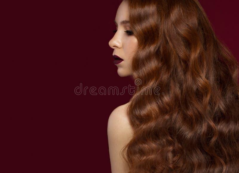 Het mooie Roodharigemeisje met krult volkomen haar en klassieke samenstelling Het Gezicht van de schoonheid stock fotografie