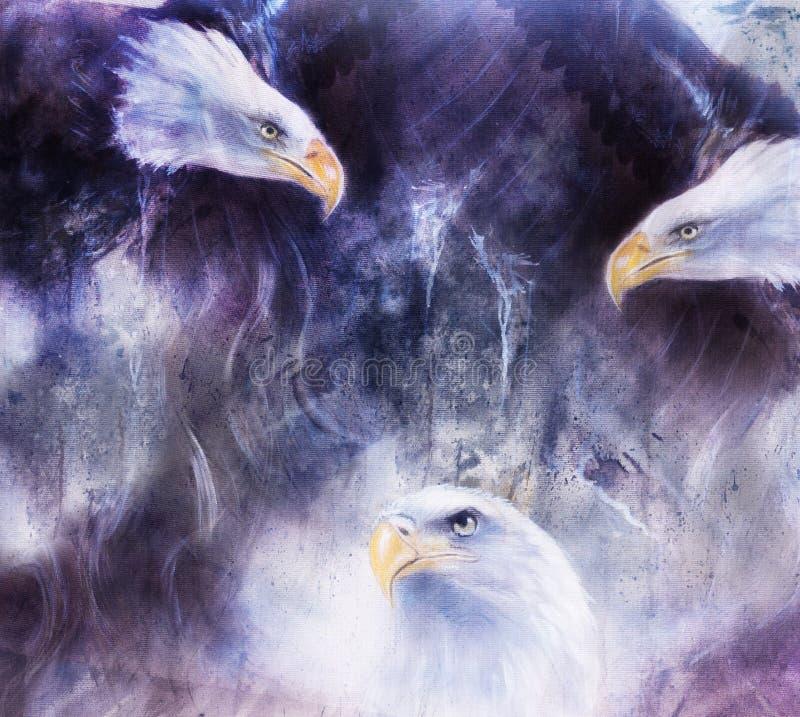 Het mooie schilderen van adelaars op een samenvatting stock illustratie