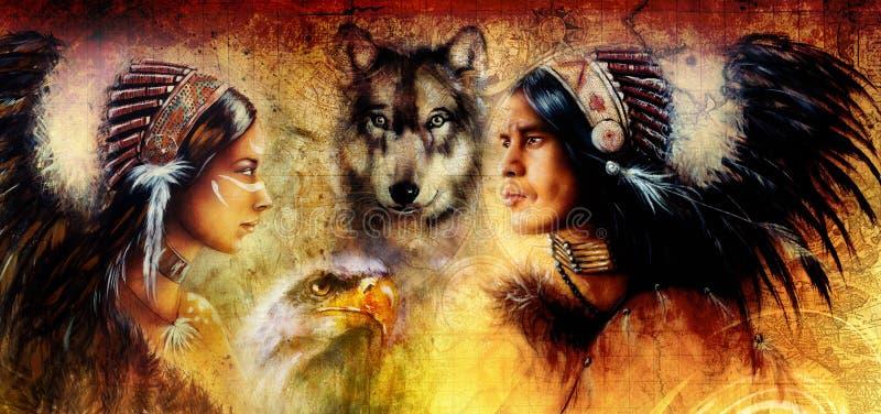 Het mooie schilderen van een jonge Indische die man en een vrouw met wolf en adelaar op gele ornamentachtergrond wordt begeleid royalty-vrije stock afbeelding
