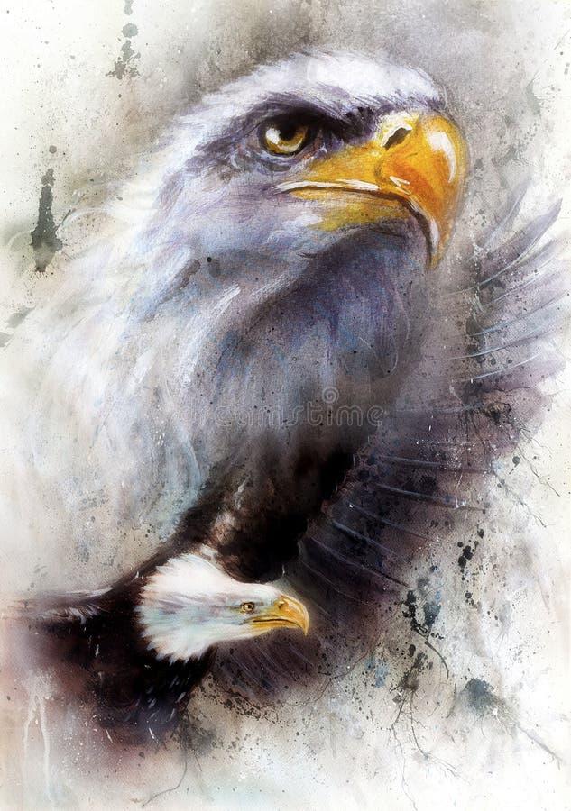 Het mooie schilderen van een vliegende adelaar, op abstracte geweven B royalty-vrije illustratie