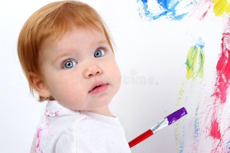 Het mooie Schilderen van het Meisje van de Baby op de Raad van de Affiche royalty-vrije stock fotografie