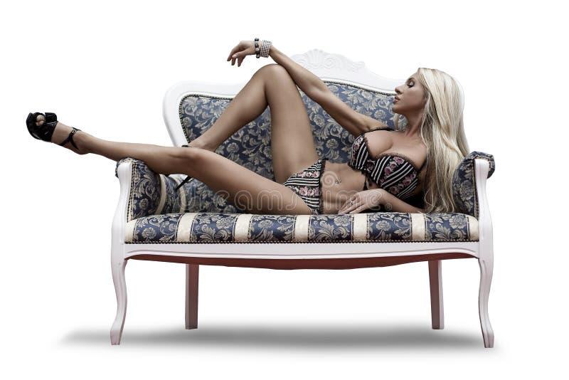 Het mooie seksuele meisje in ondergoed royalty-vrije stock fotografie