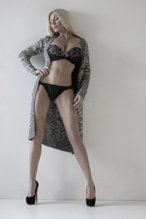 Het mooie seksuele meisje in ondergoed stock afbeelding