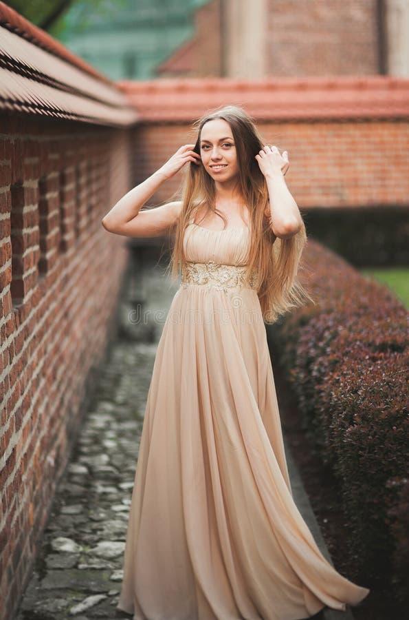 Het mooie sexy meisje met lange haar en kledings perfecte vorm looide lichaam het possing dichtbij muur stock afbeelding