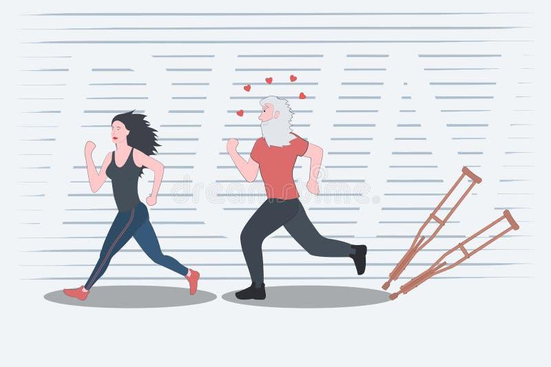 Het mooie slanke meisje is bezig geweest met jogging en motiveert zo een bejaarde stock illustratie