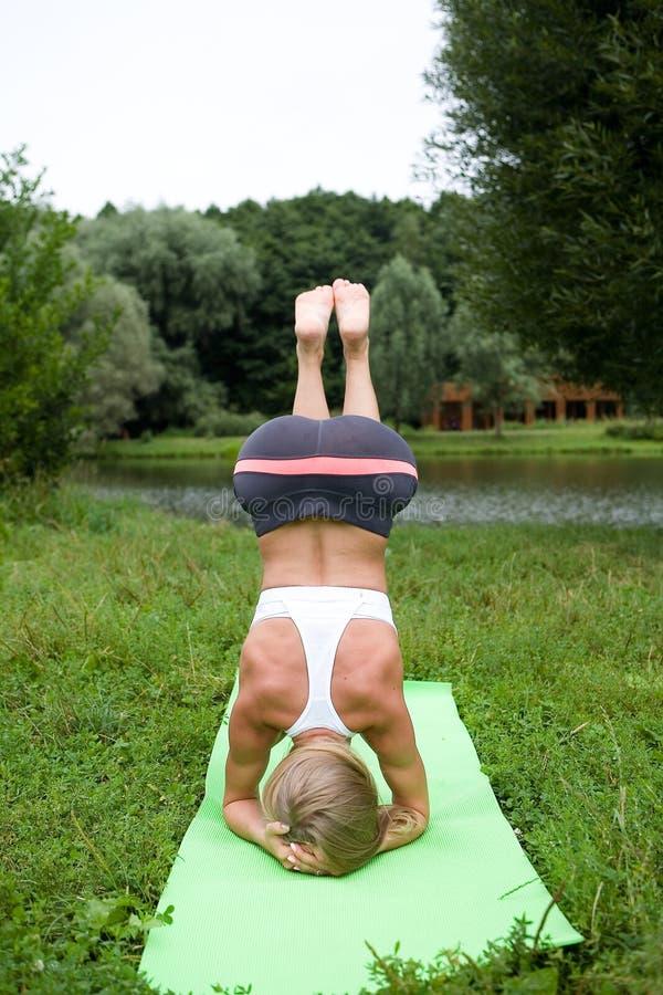 Het mooie slanke meisje voert een yoga uit stelt stock afbeeldingen