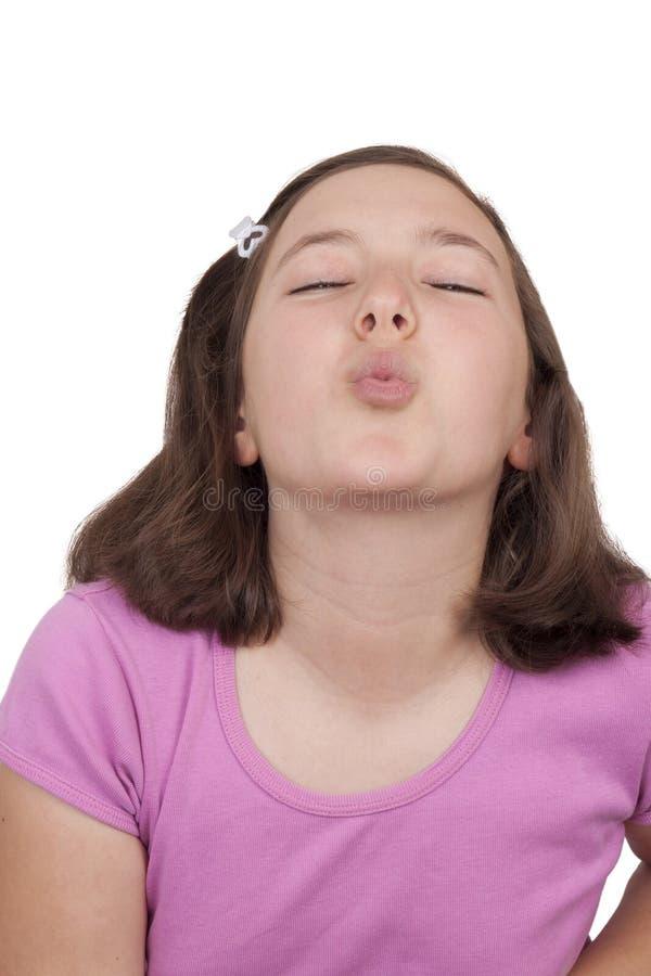 Het mooie tiener kussen royalty-vrije stock foto's