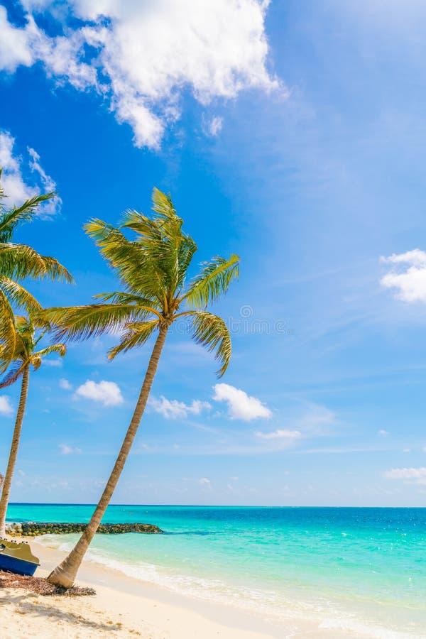 Het mooie tropische eiland van de Maldiven, witte zandige strand en overzees w royalty-vrije stock foto's