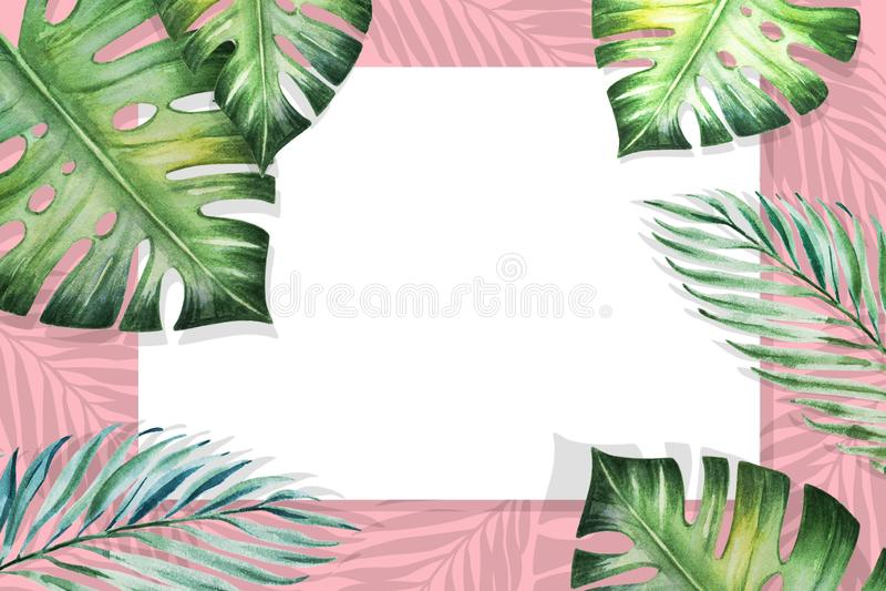 Het mooie tropische kader van de bladerengrens Monstera, palm Het Schilderen van de waterverf Witboek op roze achtergrond stock illustratie