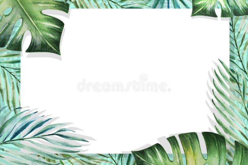 Het mooie tropische kader van de bladerengrens palm Het Schilderen van de waterverf Witboek op blauwe achtergrond stock illustratie