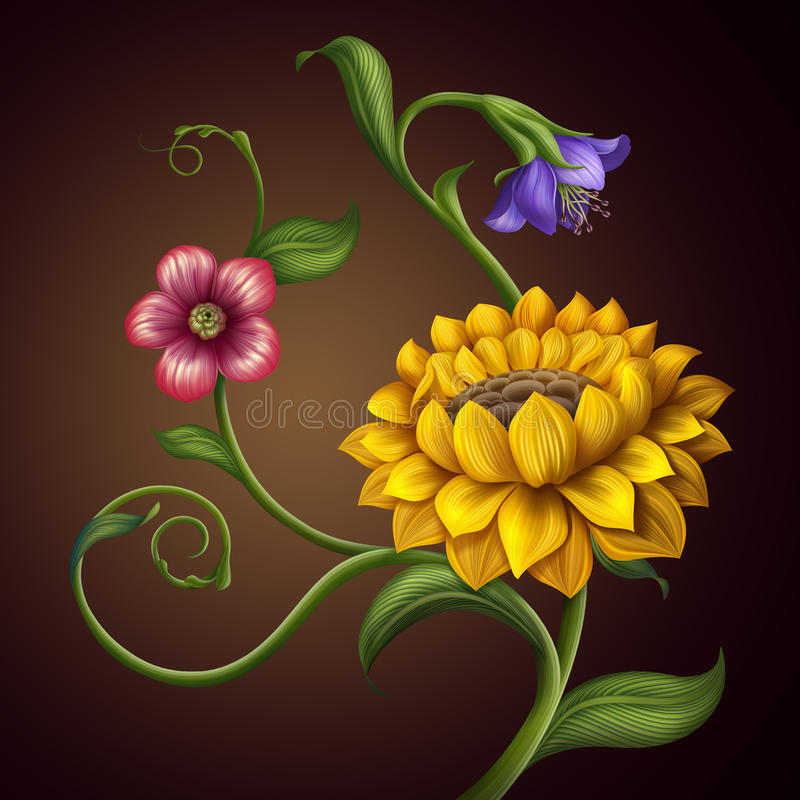 Mooie van de de fantasielente en zomer bloemenachtergrond vector illustratie