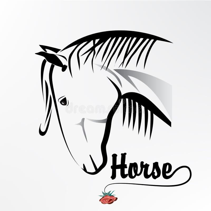 Het mooie van het de illustratieembleem van het paardpictogram vectorbeeld stock illustratie