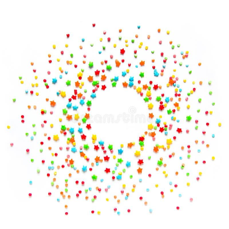 Het mooie Voedselkader met multicolored bestrooit stock illustratie