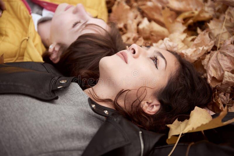 Het mooie vrouw en tienermeisje stelt in de herfstpark Zij liggen op gevallen bladeren Mooi landschap bij dalingsseizoen royalty-vrije stock foto's