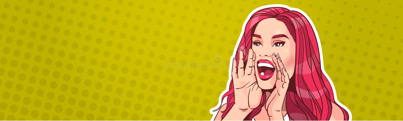 Het mooie Vrouw het Gillen Concept van de Reclameaankondiging over Pop Art Poster Background Attractive Female met Lang royalty-vrije illustratie