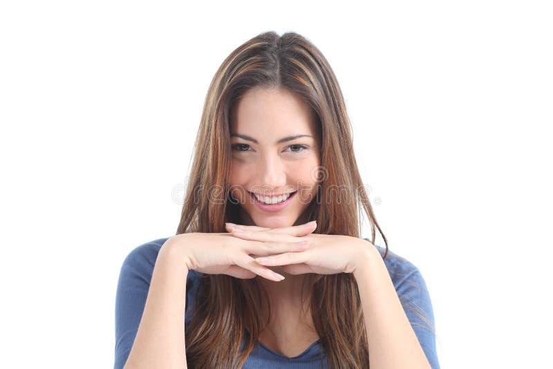 Het Mooie Vrouw Letten Op Met Een Het Doordringen Starende Blik Stock Fotografie