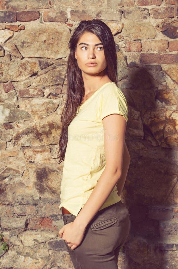Het mooie vrouw model stellen bij steenmuur toevallig dragen kleedt zich stock foto