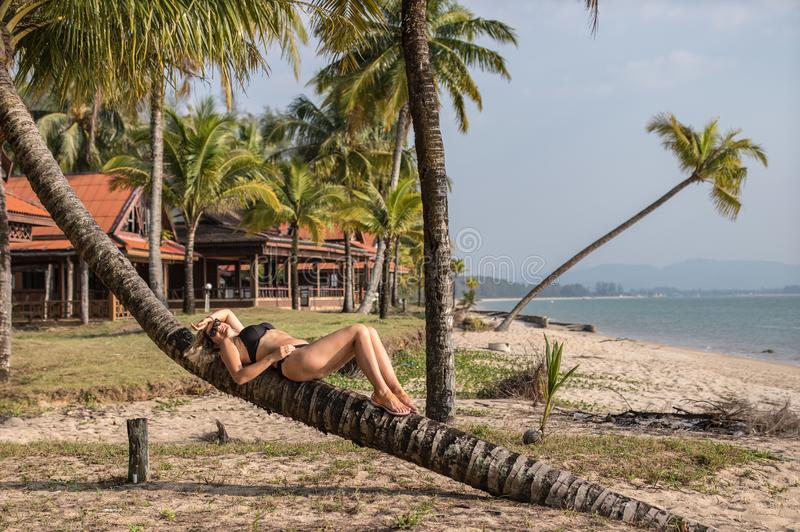 Het mooie vrouw ontspannen op de palm royalty-vrije stock afbeeldingen